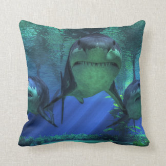 Three Sharks Throw Pillow