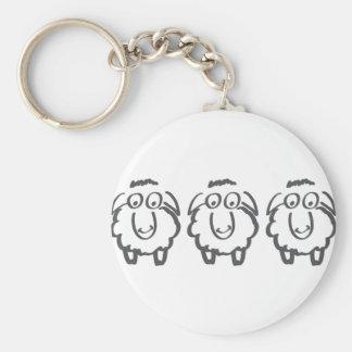 three sheeps basic round button keychain