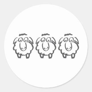 three sheeps classic round sticker