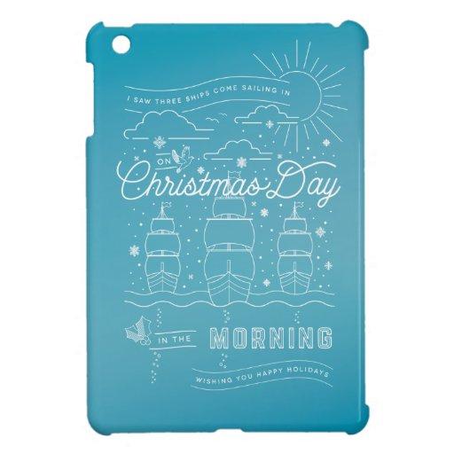 Three Ships Christmas iPad Mini Case Blue