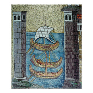 Three ships entering the port of Ravenna Poster