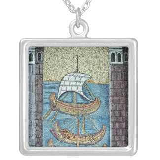 Three ships entering the port of Ravenna Silver Plated Necklace