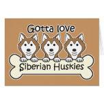 Three Siberian Huskies Greeting Cards