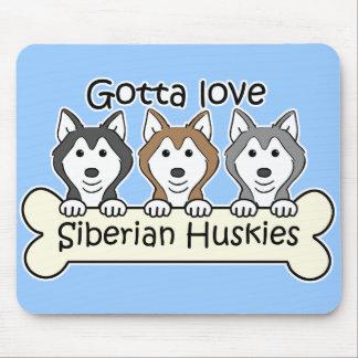 Three Siberian Huskies Mouse Pad