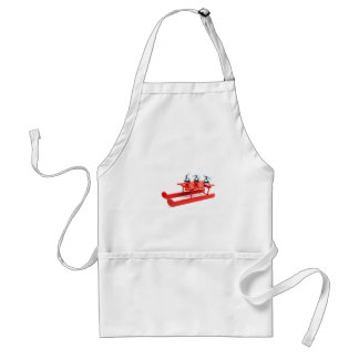 Three silver christmas balls on red sledge adult apron
