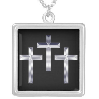Three Silver Crosses on Black Background Square Pendant Necklace