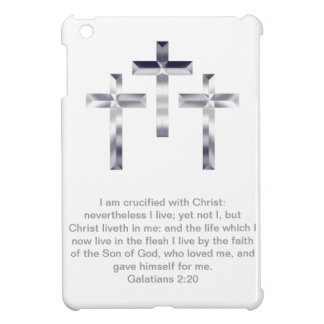 Three Silver Crosses with Scripture iPad Mini Covers