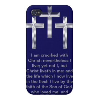 Three Silver Crosses with Scripture Phone Case iPhone 4/4S Covers