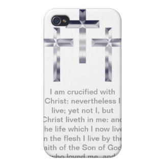 Three Silver Crosses with Scripture Phone Case iPhone 4/4S Cases