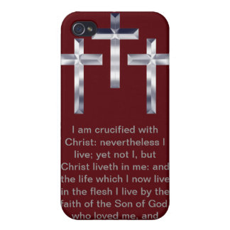Three Silver Crosses with Scripture Phone Case iPhone 4 Cover