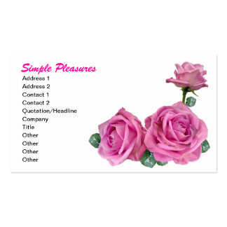 Three Simple Pink Roses Business Card Template