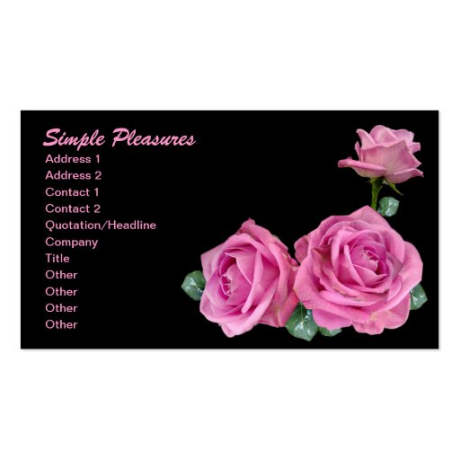 Three Simple Pink Roses on Black Double-Sided Standard Business Cards (Pack Of 100)