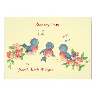 Three Singing Birds Birthday Party  Invitation