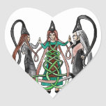Three Sisters - Celtic witches Heart Sticker
