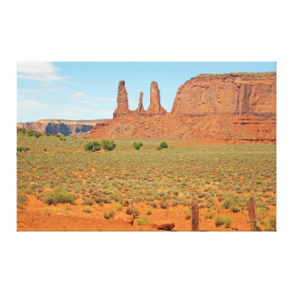 Three Sisters Stone Formation at Monument Valley Canvas Print