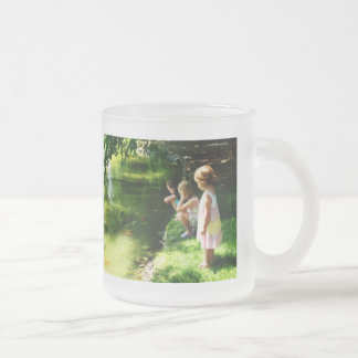 Three Sisters Watching Koi Frosted Glass Coffee Mug
