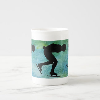 Three Skaters on Aqua Porcelain Mugs