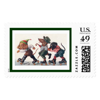 Three Skating Dachshunds - A Holiday Dog Postage