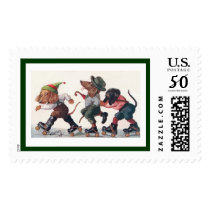 Three Skating Dachshunds - A Holiday Dog Postage