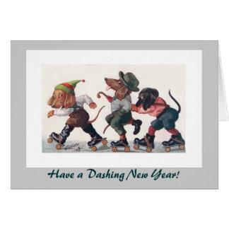 Three Skating Dachshunds New Year's Holiday Card
