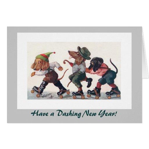 Three Skating Dachshunds New Year's Holiday Greeting Cards
