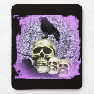 Three Skulls and a Raven Mouse Pad