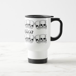Three Skulls Design Just Add Name Travel Mug