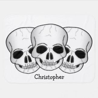 Three Skulls Just Add Name Stroller Blanket
