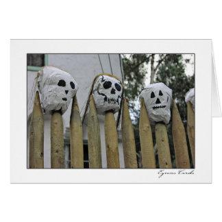Three Skulls on a Fence Greeting Cards