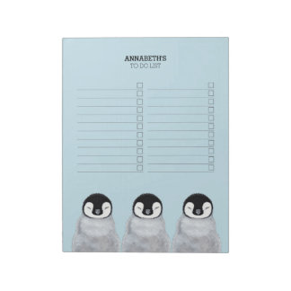 Three Sleeping Baby Penguin Chicks To Do List Note Pads