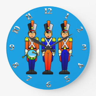 Three Smart Toy Soldiers on Parade Large Clock