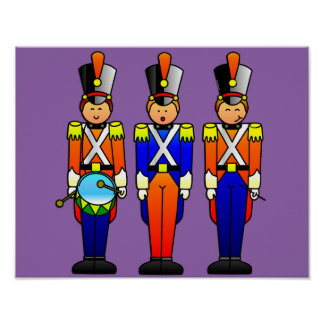 Three Smart Toy Soldiers on Parade Poster