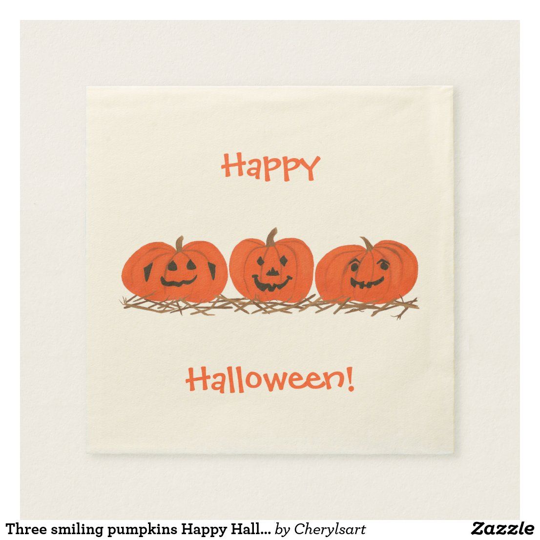 Three smiling pumpkins Happy Halloween Napkins