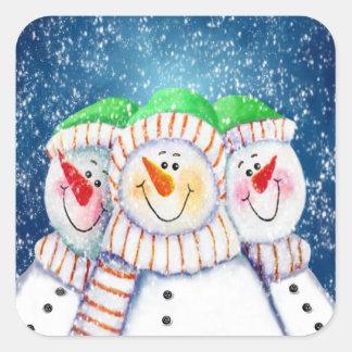 Three Smiling Snowmen Stickers