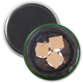 Three S'mores on a Camping Plate Magnet