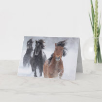 Three Snow Horses Run Fast Horse Greeting Card