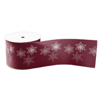 Three Snowflakes Minimal Red and White Grosgrain Ribbon