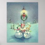THREE SNOWMEN by SHARON SHARPE Poster