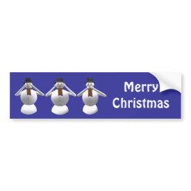 Three Snowmen Christmas Room Decoration Sticker bumpersticker