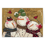 Three Snowmen Greeting Cards