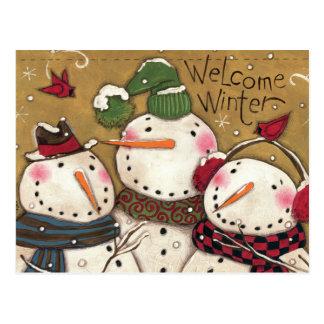 Three Snowmen Post Cards