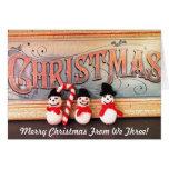 Three Snowmen w/ Cane Christmas Card