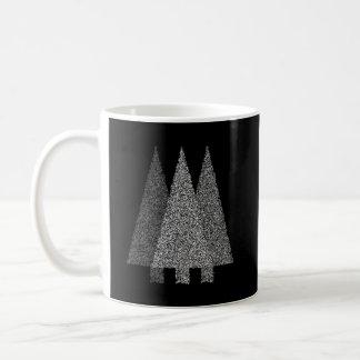 Three Snowy Christmas Trees. Black White. Coffee Mugs