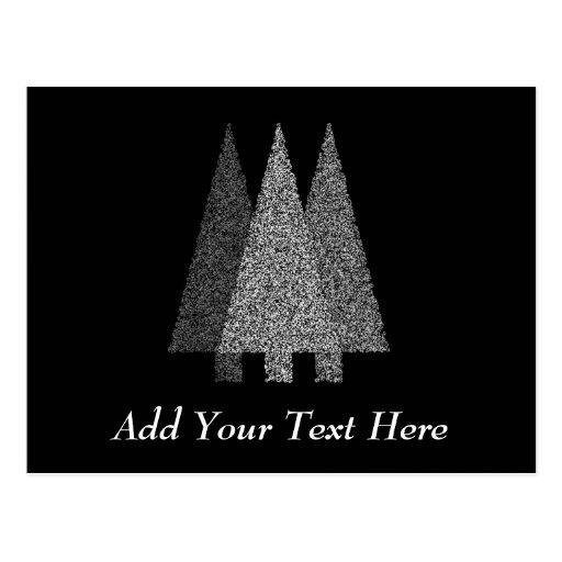Three Snowy Christmas Trees. Black White. Postcard