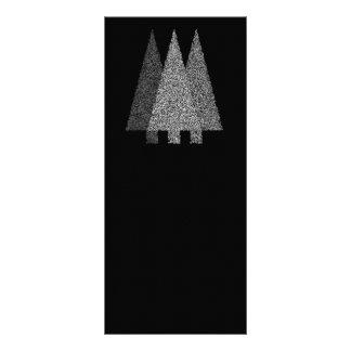 Three Snowy Christmas Trees Black White Rack Card Template