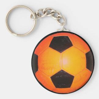 Three Soccer Balls Basic Round Button Keychain