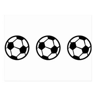 three soccer balls icon postcard