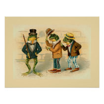 """""""Three Sociable Frogs"""" Poster"""