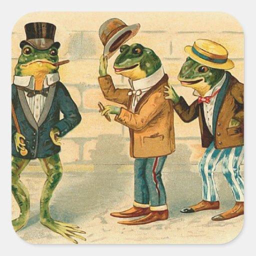 """Three Sociable Frogs"" Square Sticker"