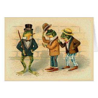 """Three Sociable Frogs"" Vintage Greeting Card"